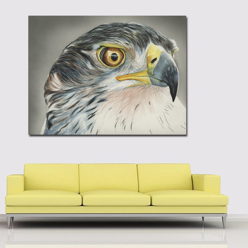 Hawk Head Painting Poster Modern Animal Wall Art Print Picture ...