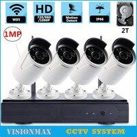 720 P 4CH Video Draadloze CCTV Camera Kit NVR Video Recorder Outdoor 1MP IP Camera Waterdichte Bewaking Systeem
