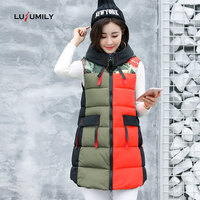 Lusumily Long Vest Women Plus Size 2019 Winter Cotton Black Waistcoat Loose Female Windproof Warm Thick Vest Sleeveless Jacket