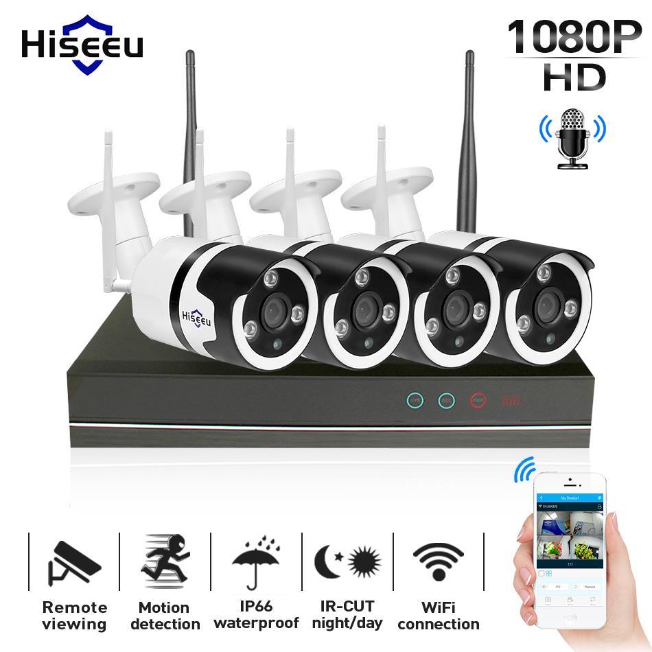 Hiseeu 1080 P Беспроводной камеры видеонаблюдения Системы 4CH 2MP аудио ip-камера водонепроницаемый сетевой безопасности Системы комплект видеонаб...