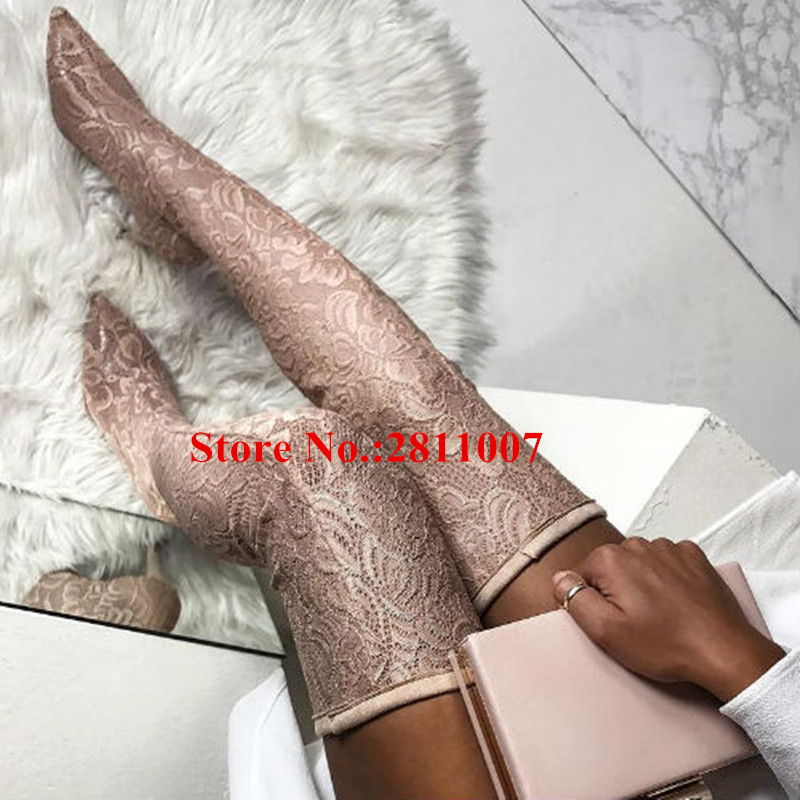 Over The Knee Boots 2018 Lace Floral Runways Women Long Boots Pointed Toe Zip Stiletto High Heels Thigh High Boots Shoes Woman jialuowei women sexy fashion shoes lace up knee high thin high heel platform thigh high boots pointed stiletto zip leather boots