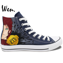 Wen Anime Canvas Shoes Hand Painted Design Characters Sabaku Gaara Naruto High Top Men Women's Blue Sport Sneakers Special Gifts