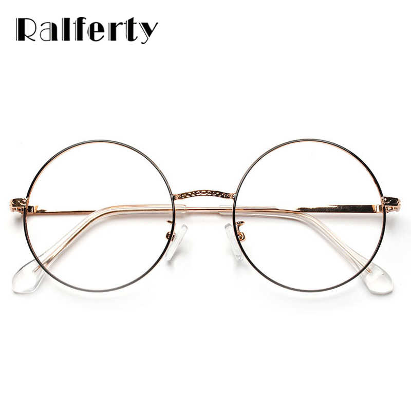6b9ddbbbc4 ... Ralferty Vintage Round Eyeglasses Frame Clear Transparent Glasses Women  Men Retro Eyewear Accessories Optical Frames Oculo ...