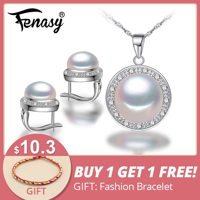 FENASY Nice Freshwater Pearl Jewelry Sets ,golden pearl Necklace pendant ,Pearl Earrings and ring,Wedding Jewelry Sets for women
