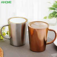 Tasse de café plaquée par cuivre d'acier inoxydable de 350 ML Double couches tasse de thé de lait de résistance à hautes températures de 304