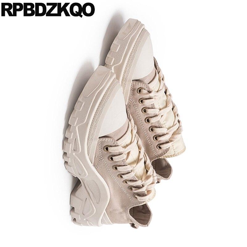 Up Chaussures Toile Lace forme Sneakers Rétro Muffin Haute Épaisse Qualité Ascenseur Formateurs Personnalisé Creepers Plate Respirant Femmes Semelle qZ6Ew5x