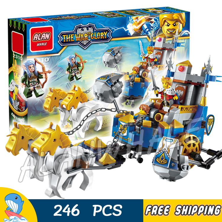 246pcs The War Wagon Human VS Elves King Knights Chariot Archer Model Building Blocks Kit Games Toys Bricks Compatible with lego