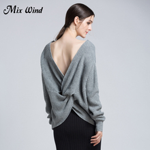 Mix Wind 2017 Autumn And Winter New Women'S V Neck Halter Sexy Sweater Women Long Sleeve Pure Color Comfortable Sweater