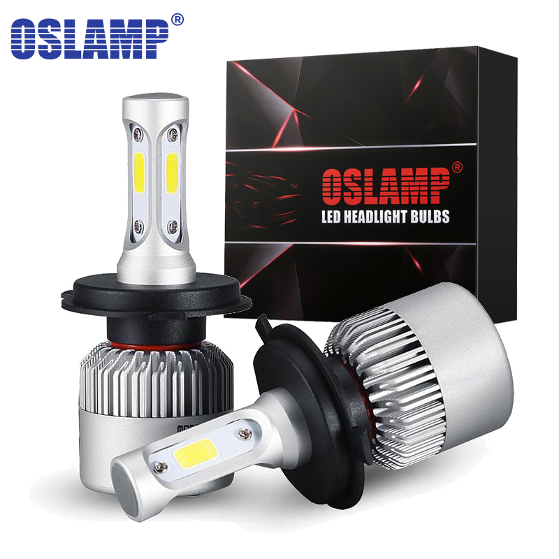 Oslamp LED bombillas de faros H4 Hi-Lo haz H7 H11 H1 H3 9005 9006 COB 72 W 8000lm 6500 K Auto faro coche Led Bombilla DC12v 24 v