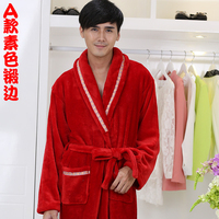 flannel robe men robe big size pajamas home bathrobe lengthened thicker
