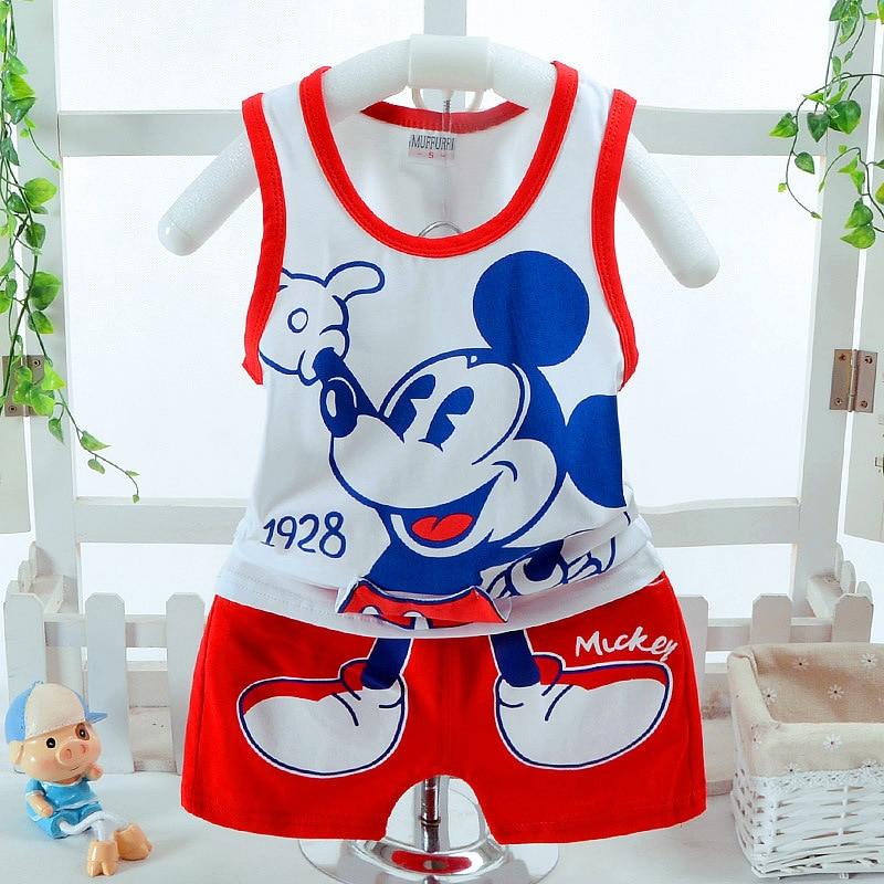 New Summer Baby Kids Girl Boy Clothes Cartoon Mickey Vest+shorts Pajamas High Quality 100% Cotton Cozy Children Clothing Set