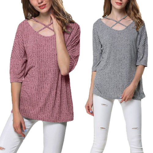 4edf9a1671049 Women Criss Cross Blous Autumn Front Off Shoulder Knit Tops Long Sleeve  Pullover Loose Blouse-in Blouses   Shirts from Women s Clothing on  Aliexpress.com ...