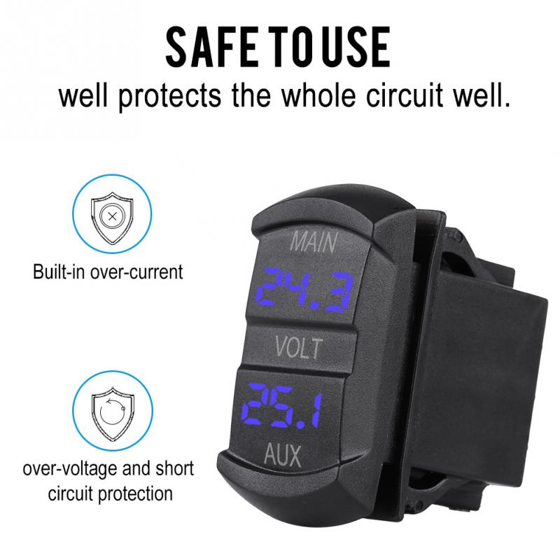 Alert Car Led Digital Dual Voltmeter Universal Dc 10v-60v Blue For Pickup Rv Atv Battery Modern And Elegant In Fashion