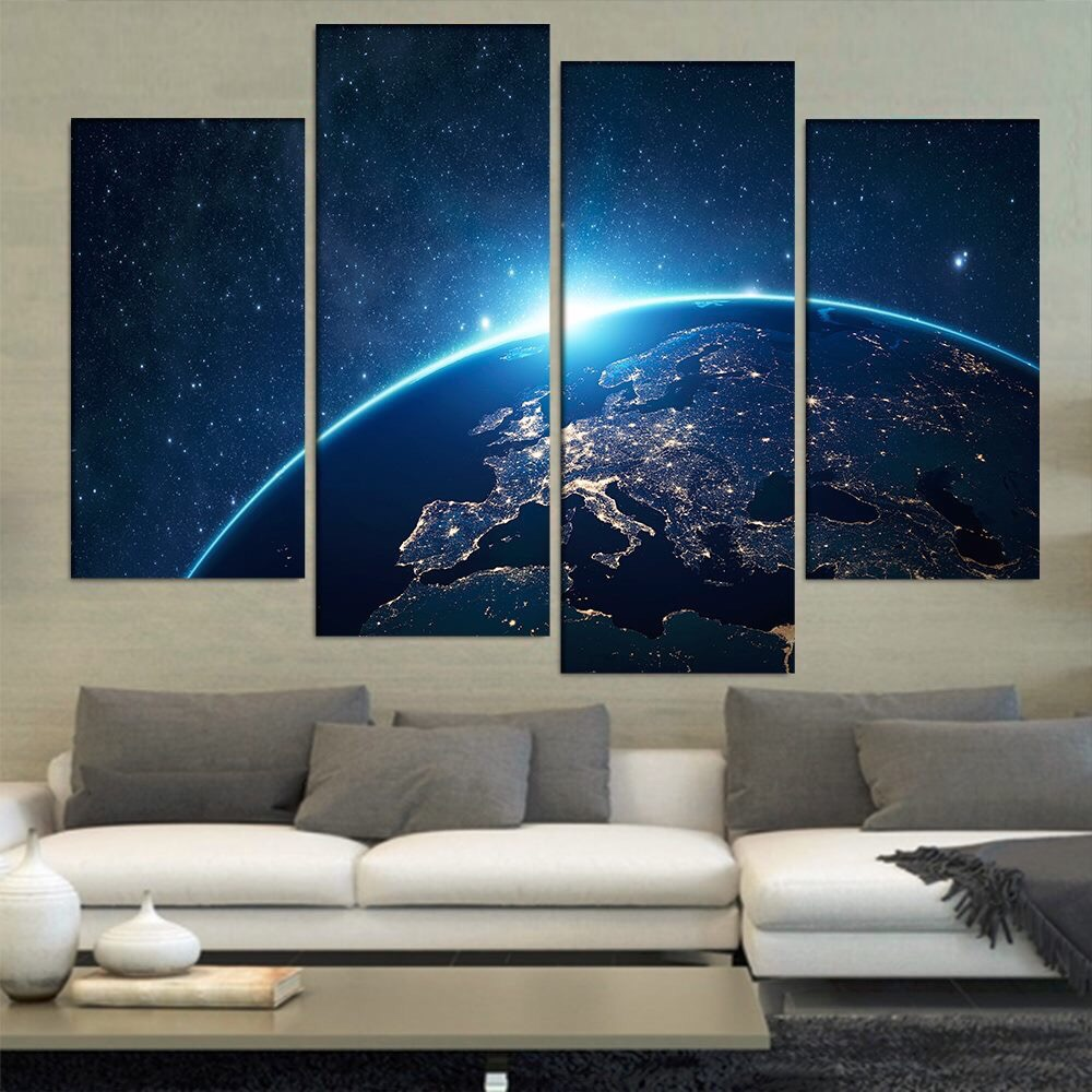 hd print 4 pcs canvas wall art print space painting modern home decor living room wall - Cheap Canvas Wall Art
