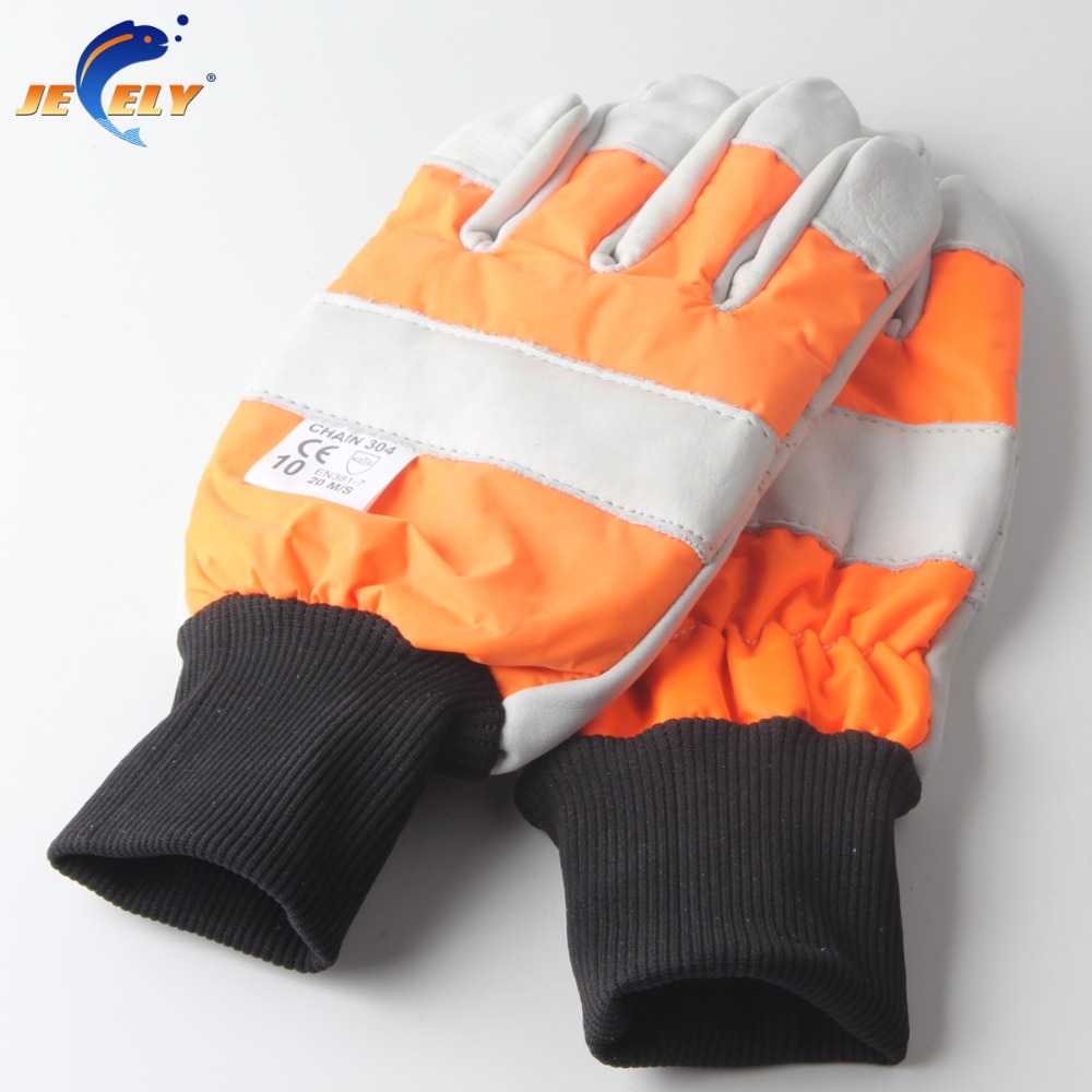 Free shipping wood industry safety leather chainsaw <font><b>glove</b></font> cut <font><b>resistant</b></font> 0 & 1 Fishing <font><b>Glove</b></font>
