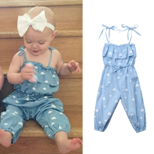 FOCUSNORM Hot Infant Kids Baby Girls Clothes Floral Strap   Romper   Sleeveless Jumpsuit Outfits Clothes