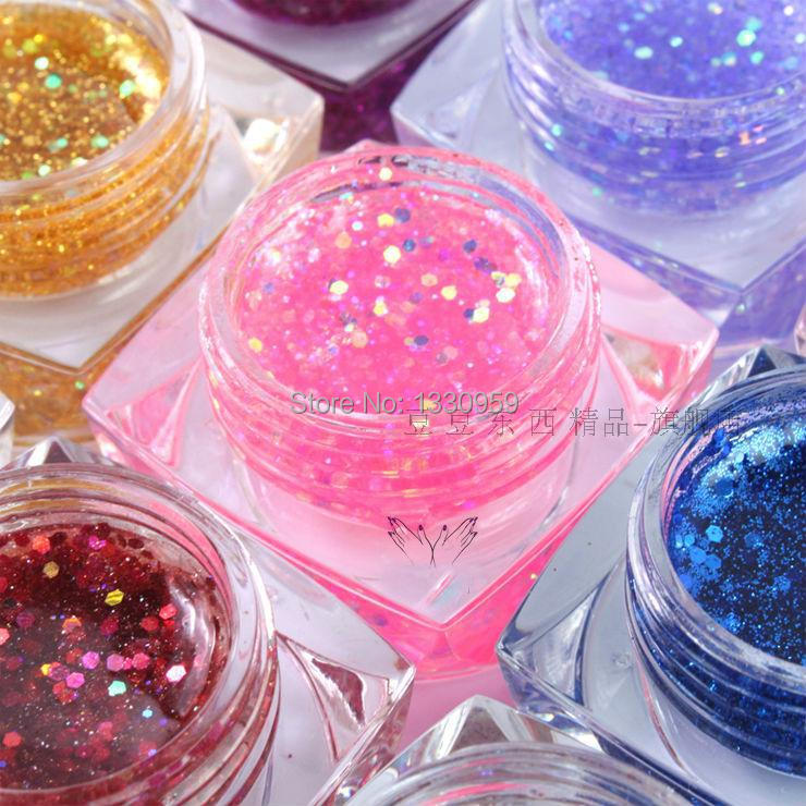 Nail Art Gel 12 Colors Colored Gel Acrylic Glitter Gel UV Gel Polish Free Shipping жидкость domix green professional nail gel polish remuver