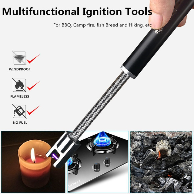 360 Rotation USB rechargeable cigarette Lighters Long Kitchen Electronic Lighters Windproof Plasma Electric Novelty Lighter ARC