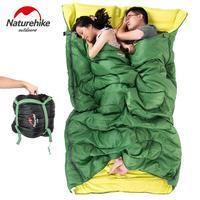 Naturehike envelope 3 season sleeping bag adult cotton outdoor camping double sleeping bag tourist equipment With pillow 2.4KG