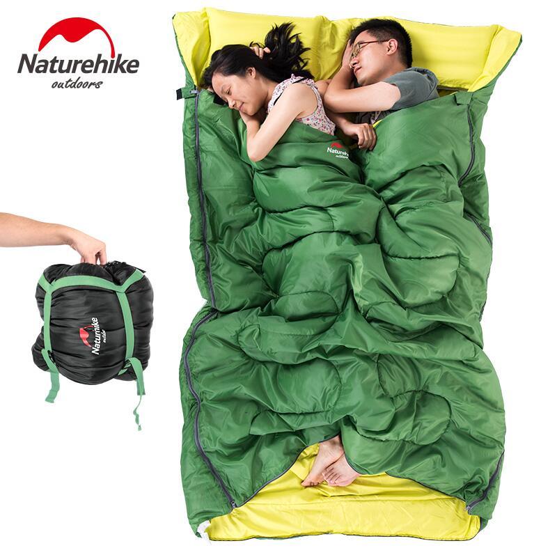 Naturehike enveloppe 3 saison sac de couchage adulte coton camping en plein air à double sac de couchage touristique équipement Avec oreiller 2.4 KG