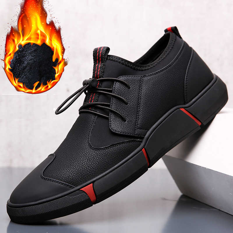 fa879a6a08fbe NEW Brand High quality all Black Men's leather casual shoes Fashion To keep  warm Sneakers fashion