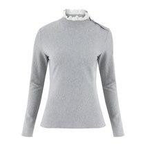 beeb3d3714e5 Suéter de punto de mujer cuello tortuga Casual de manga larga suéteres  sueltos 2018 Otoño Invierno gris blanco Tops Streetwear