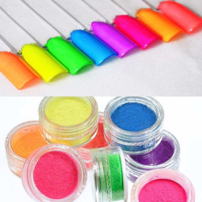 Nails Art & Werkzeuge 8 Gläser/set Neon Pigment Fluoreszenz Wirkung Nagel Glitter Leuchtstoff Pulver Pigment Nagellack Staub Uv Gel Nagel Dekorationen Nagelglitzer