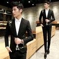 Para hombre de la Chaqueta 2016 Traje Homme Veste Vestido de Impresión de Oro de Lujo trajes de Hombres Blazer Cappotto Hommes Slim Fit Hombres Chaqueta Formal moda