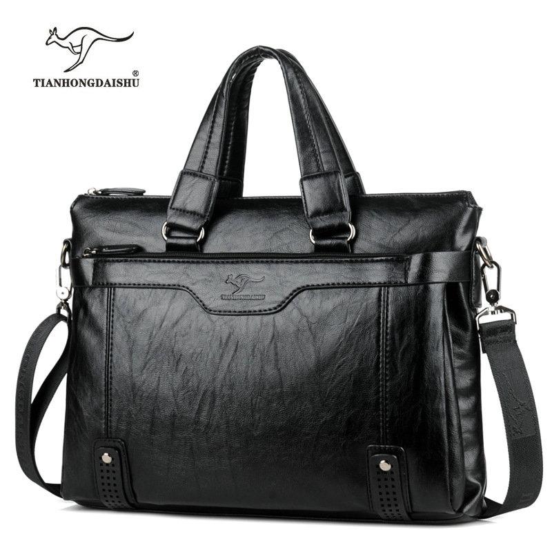 Cowhide Leather Men/'S Briefcase Laptop Messenger Bag Shoulder Bags Briefcases Khaki