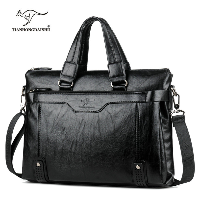 Cowhide Leather men's Briefcase men laptop male messenger bag Men's shoulder bags briefcases for documents bag