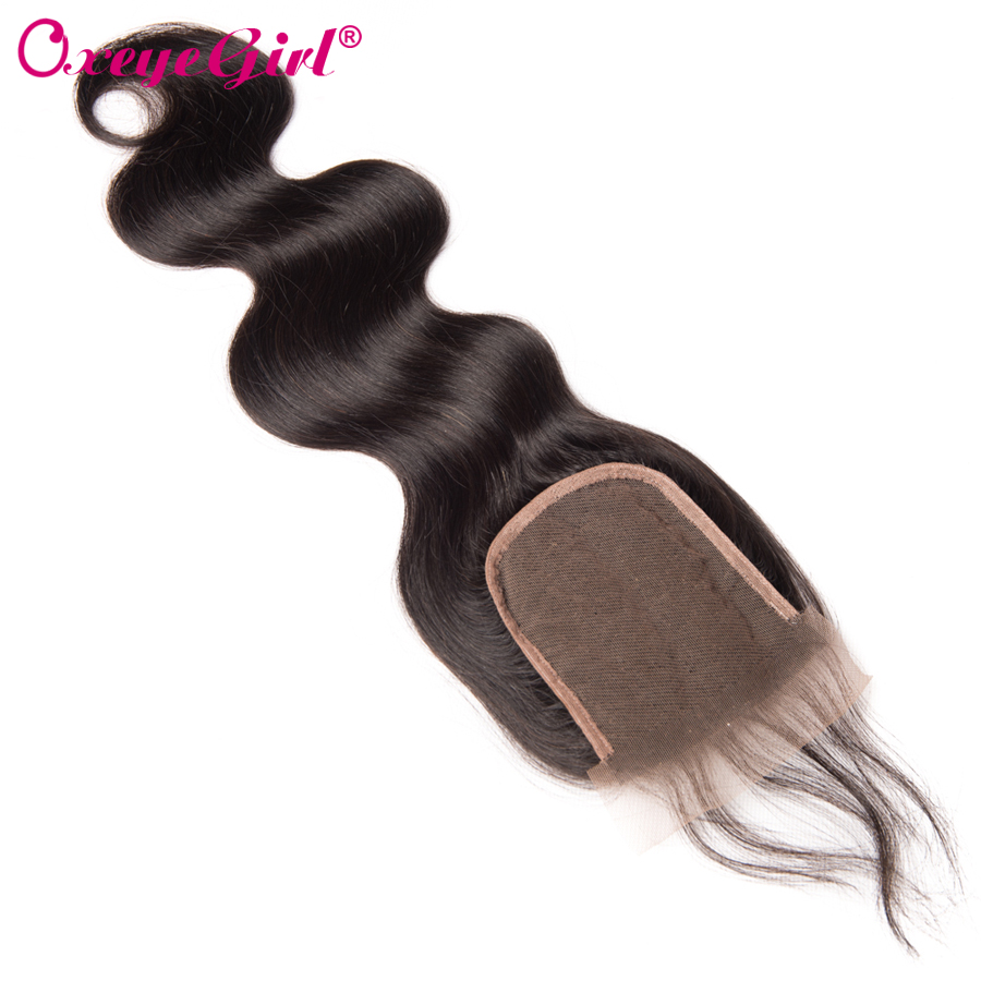 Peruvian Body Wave Lace Closure Med Baby Hair Free / Middle / Three - Menneskehår (sort) - Foto 2