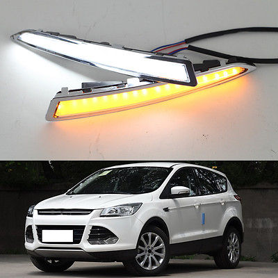 For Ford Escape 2013-16 Guiding White Daytime Running Lights DRL Turn Signals for ford fusion 2013 16 guiding light daytime running lights drl turn signals 2x