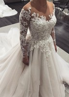 robe de mariage Fashionable Tulle Wedding Dresses 2019 Beaded Lace Appliques Long Sleeve Wedding Bridal Gowns