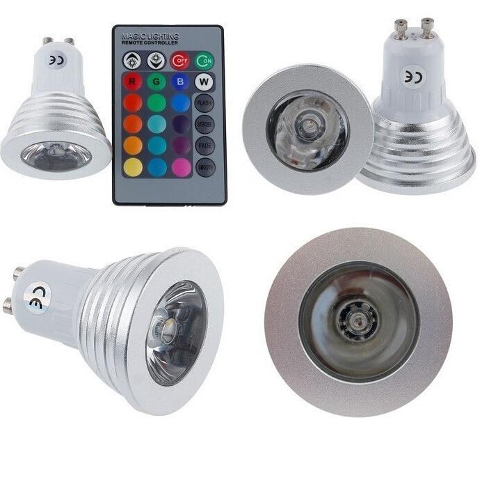 Bombilla RGB MR16/E27/GU10 foco LED 4W bombillas LED AC110 245V 24 teclas luces remotas IR para Bar en casa iluminación de fiesta lámpara LED RGB - 5