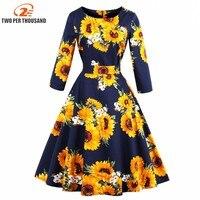 S 4XL Women Robe Pin Up Dress Retro Vintage 50s 60s Rockabilly Flowers Swing Spring Autumn female Dresses Elegant Tunic Vestidos