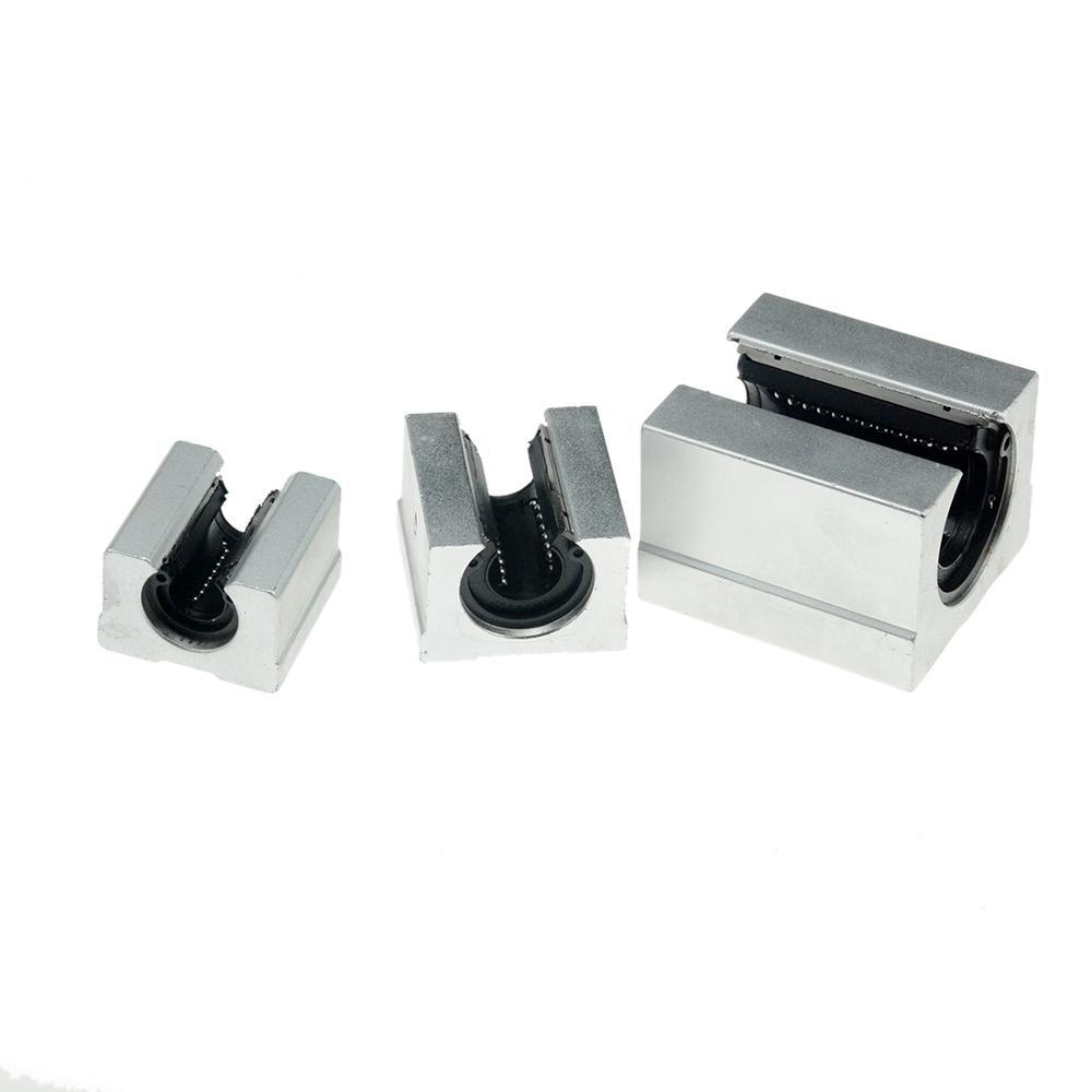 4 Unids SBR16UU Aluminio Diapositiva de rodamiento de movimiento lineal abierto