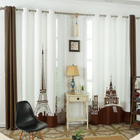 Tower castle window curtains for living room luxurious 3d curtain children European style bedroom blackout curtains 130 x 260 cm