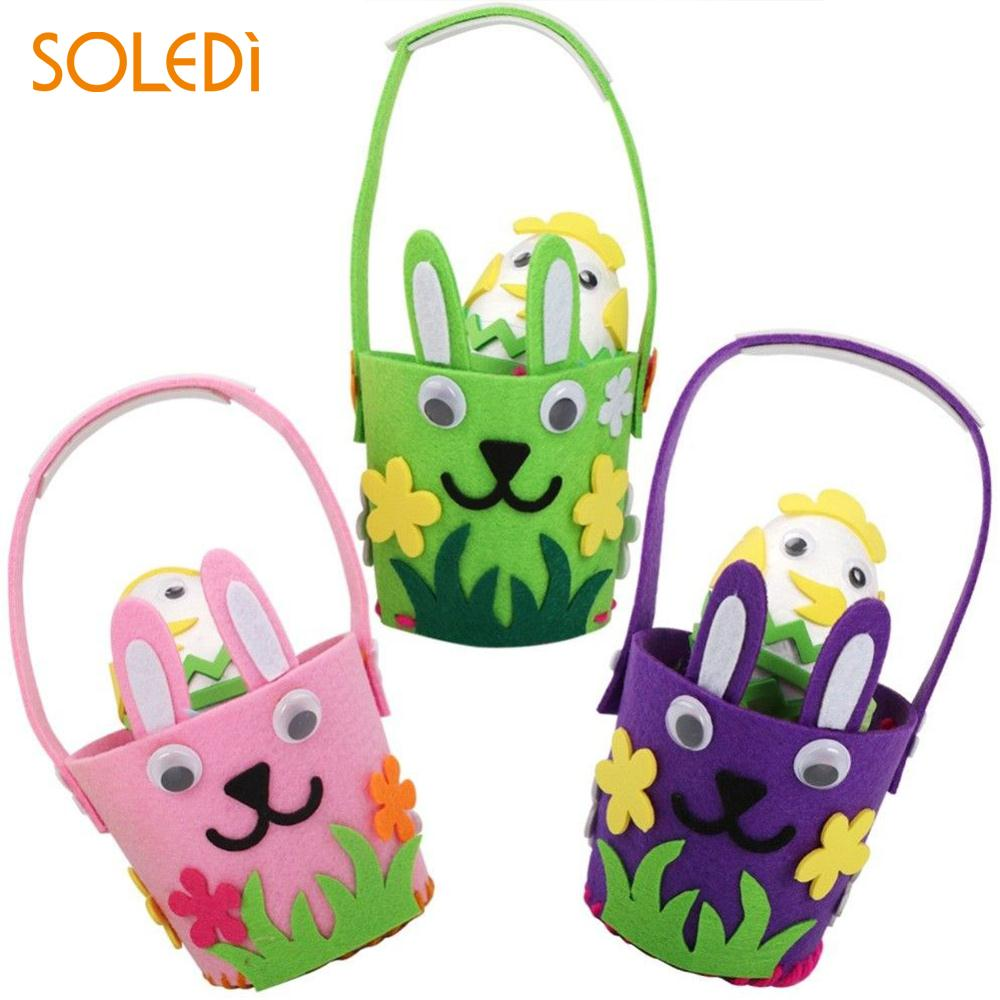Rabbit Basket Egg Easter Basket Easter Eggs Handmade Children Puzzle ...