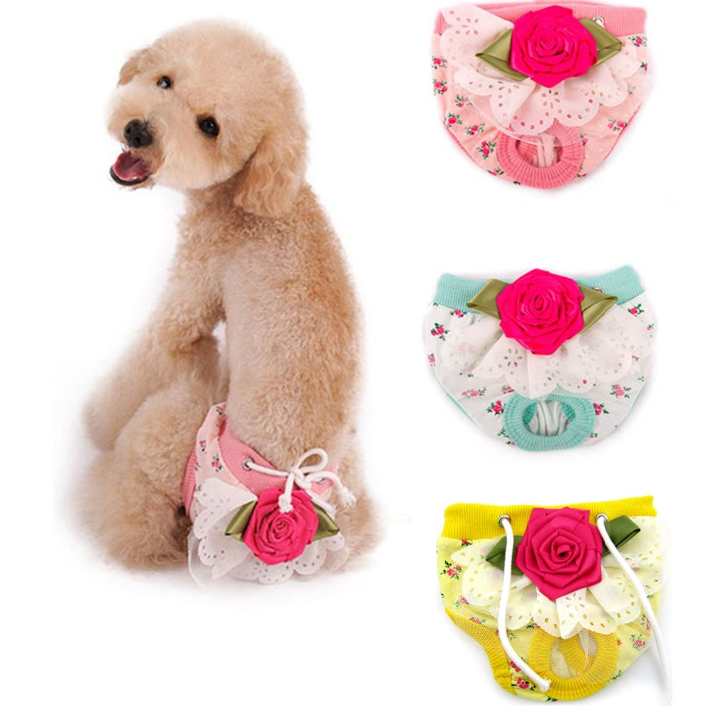 P31 Cute Flower Pet Physiological <font><b>Pants</b></font> Underwear Diapers <font><b>Female</b></font> Pet <font><b>Dog</b></font> Puppy Shorts <font><b>Dog</b></font> Sanitary <font><b>Pants</b></font> Clothes for Chihuahua image