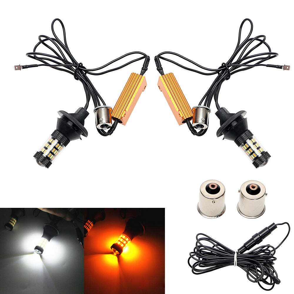 2PCs/Set Dual Color LED Car Turn Signal Light Auto Front Turn Indicator 1156 1014 60 SMD Daytime Running Lights Super Bright multicolored led auto wheels light 2 set