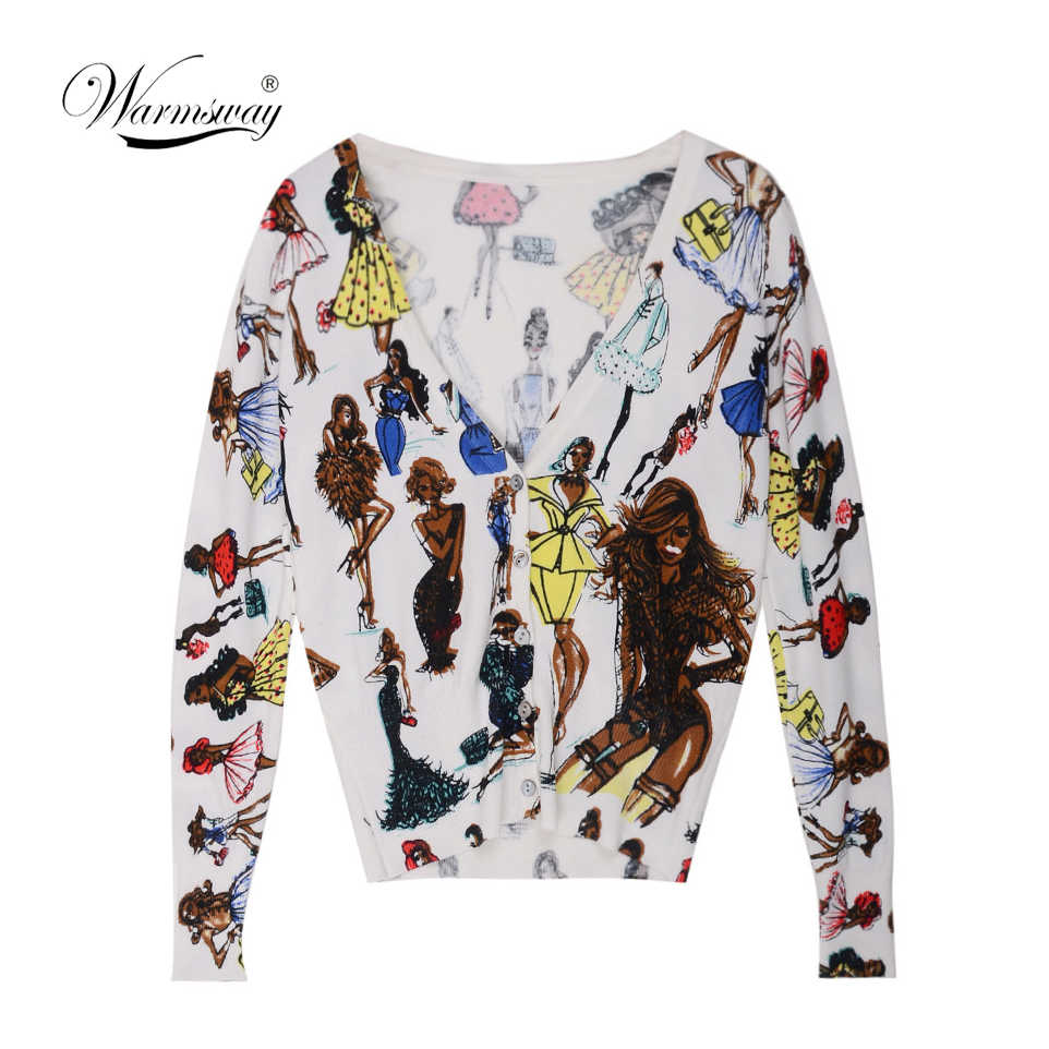 Printing Women Cardigans 2019 Spring Autumn Fashion Jacket Women's Knitting Cardigan Sweater Female Coat B-119