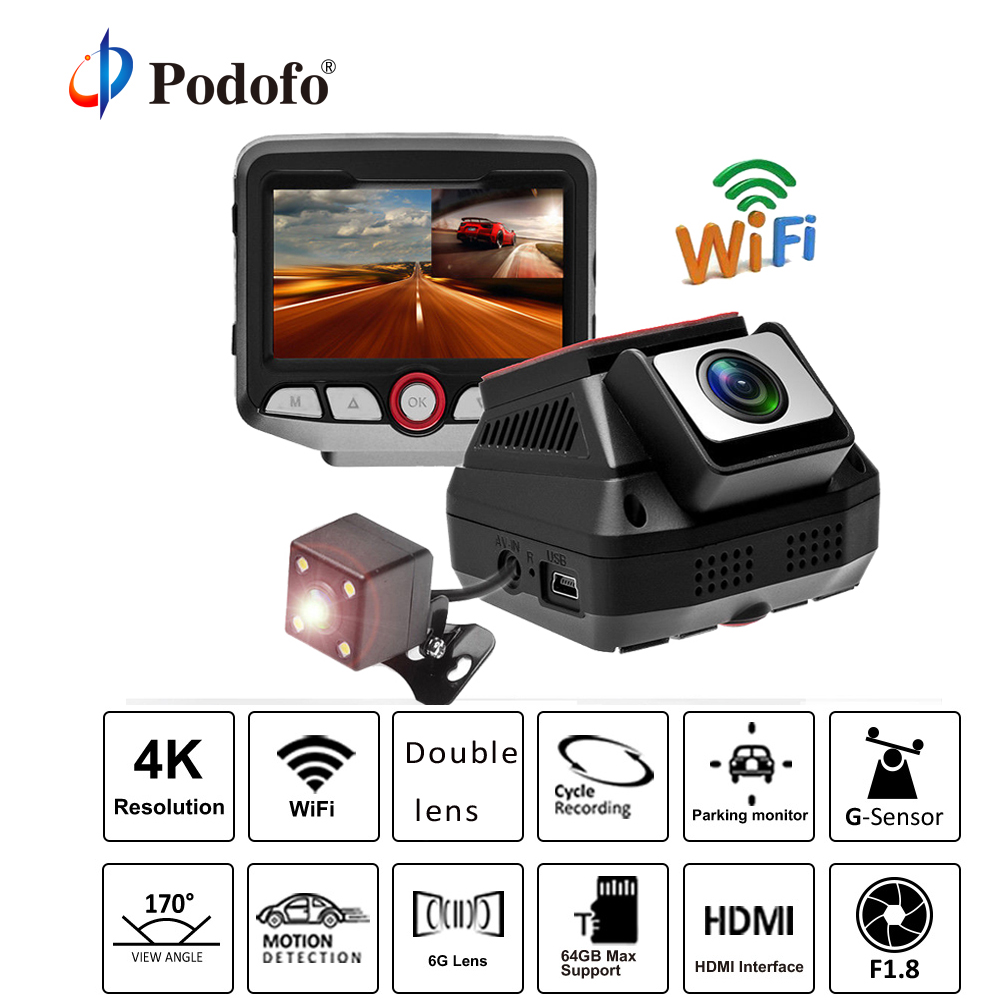 Podofo Wifi Hidden Car DVR 2.45 Novatek 96658 Dash Cam HD Dual Lens Video Recorder Registrator Car Camcorder Hardwire Converter hidden car dvr wifi camera video recorder dash cam for bmw e90 e91 e87 e84 black box camcorder novatek 96658 full hd 1080p