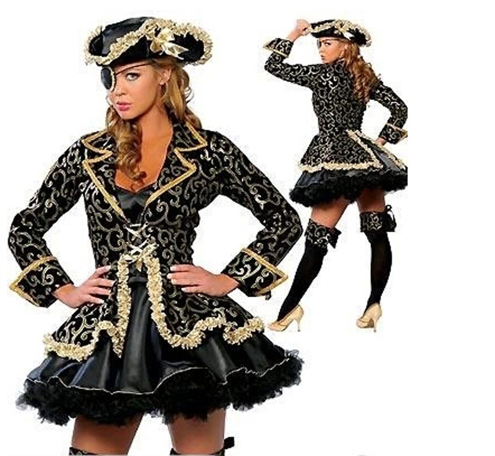 US $27 99 |New Women Plus Size Cosplay Fashion Black Skirt Gold Sexy Pirate  Costume Christmas Halloween Masquerade Costume With Hat-in Holidays