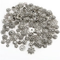 40g About 130pcs Silver Mixed Different Patterned  Bead Caps End Beads For DIY Jewelry Making Bracelets