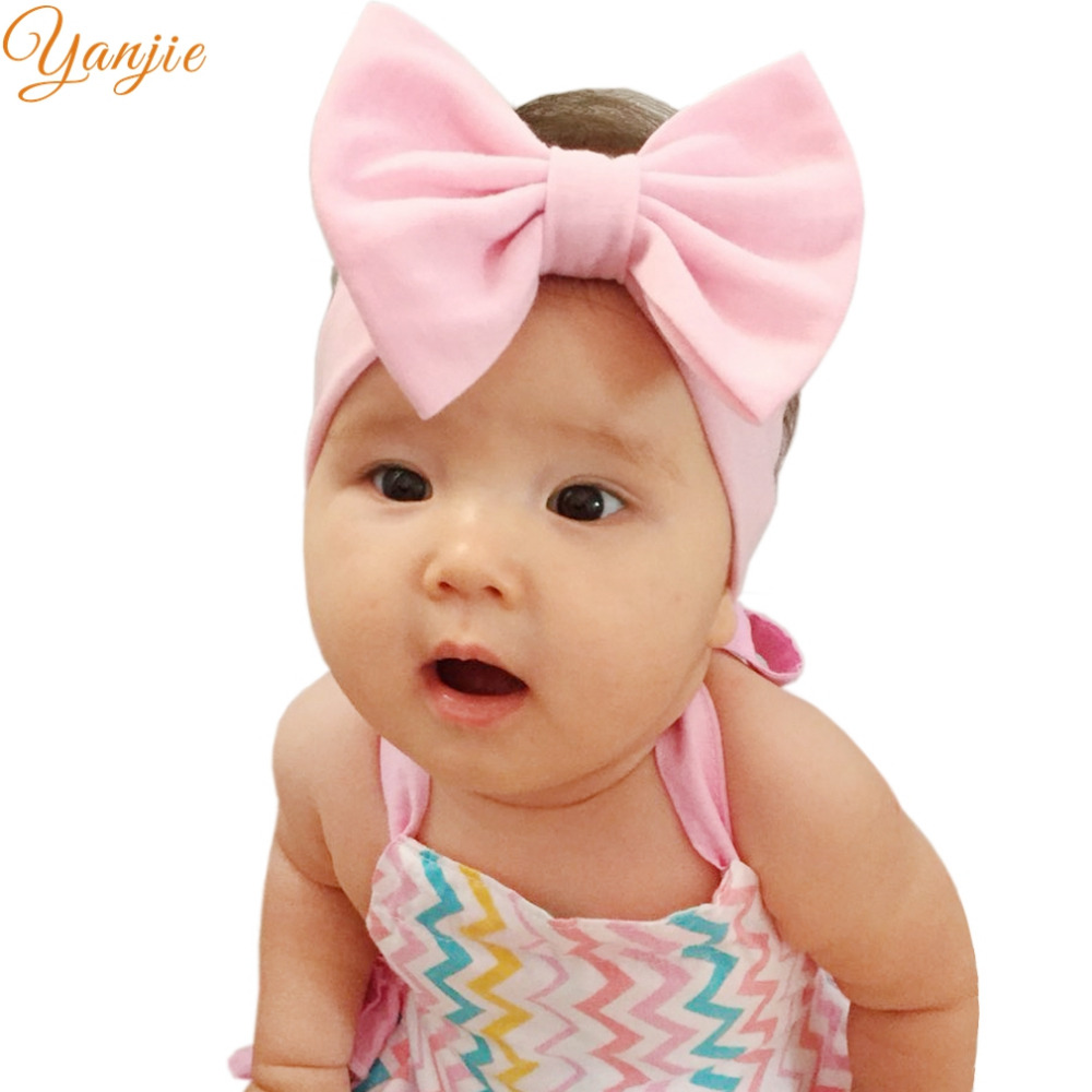 5'' Solid Cotton Bow Headband For Girls 2019 Big Hair Bows Kids Elastic Hair Bands Girls Birthday Party Gifts Hair Accessories