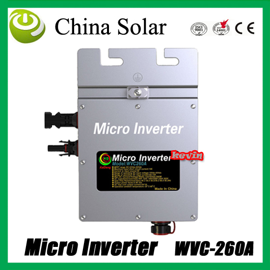 Solar  pure sine wave mppt grid tie solar micro inverter WVC260A+ free shipping 260w grid tie micro inverter dc22 50v to ac180 260v pure sine wave solar inverters mppt function for 200 300w solar panels