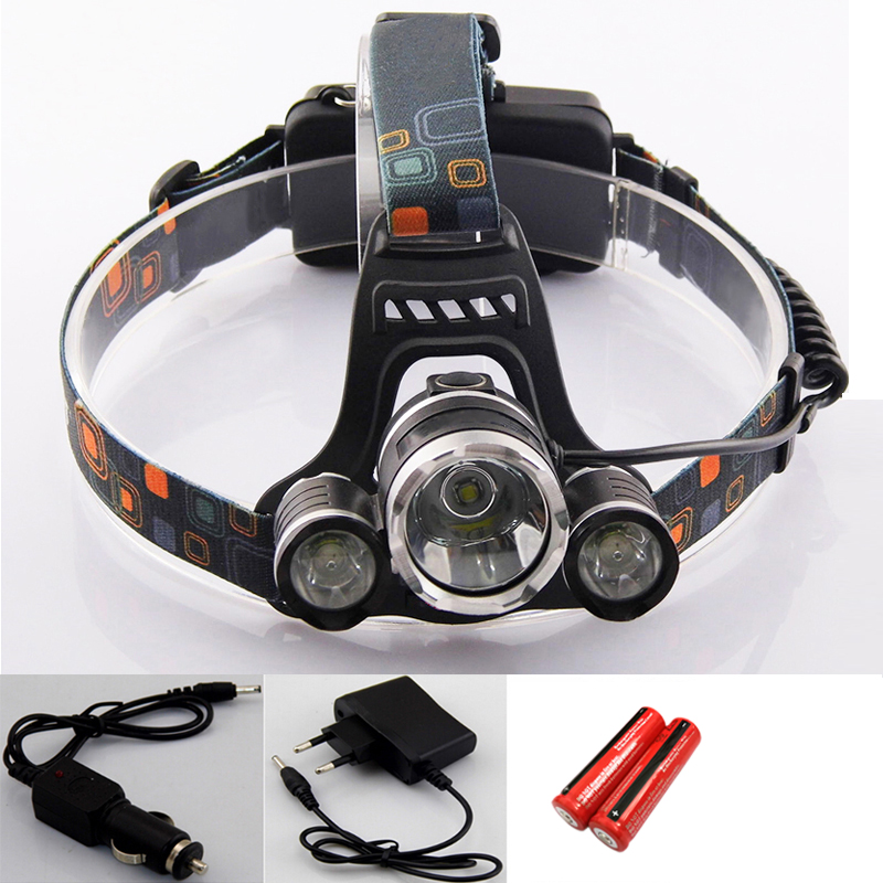 3 Cree T6 Led Head Lamp Torch Light Rechargeable Frontal Headlamp Lampe Frontale With Car Charger