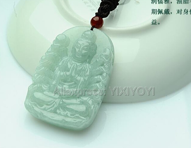 Beautiful Natural Green Grade A Jadeite Carved THousand-Hand GuanYin Lucky Amulet Pendant + Free Necklace Certificate Jewelry
