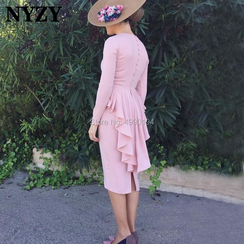 Robe   Cocktail     Dresses   NYZY C200 Pink Satin Long Sleeves Knee Length Formal   Dress   Party Prom Homecoming 2019