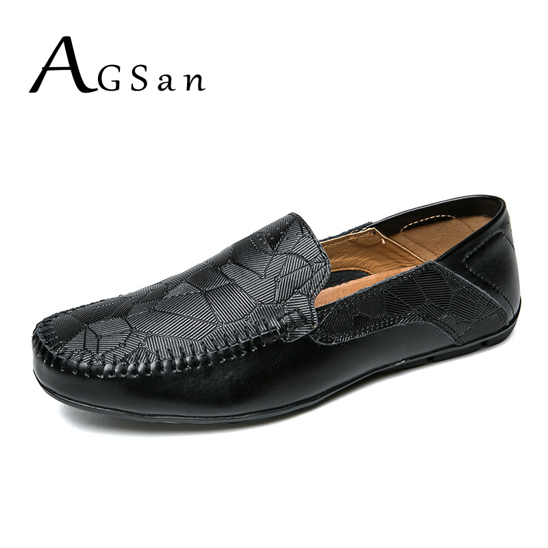 AGSan 2018 Spring Handmade Men Loafers Split Leather Casual Shoes Italian Style Leather Loafers Plus Size 38-47 Flats Brown agsan men genuine leather casual shoes slip on fashion flats handmade italian mens shoes black brown khaki luxury footwear 9 5